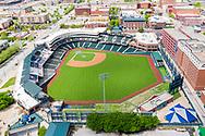 Chickasaw Bricktown Ballpark with the downtown Oklahoma City skyline in the background on April 12, 2020. Photo copyright © 2020 Alonzo J. Adams.