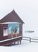 An abandoned outbuilding on the edge of Barentsberg, a Russian mining town in Spitsbergen. Spitsbergen is the largest island of the arctic archipelago Svalbard, of Norway