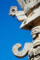 Mexique, Etat du Yucatan, site archéologique de Chichen Itza, classé Patrimoine Mondial de l'UNESCO, l'église, masque du Dieu de la pluie Chac Mool, anciennes ruines maya // Mexico, Yucatan state, Chichen Itza archeological site, World heritage of UNESCO, the church, mask of Chac Mool; the god of the rain, ancient mayan ruins