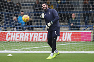 AFC Wimbledon goalkeeper Tom King (1) warming up during the EFL Sky Bet League 1 match between AFC Wimbledon and Southend United at the Cherry Red Records Stadium, Kingston, England on 24 November 2018.