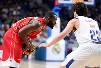 Real Madrid's Sergio Llull and Crvena Zvezda Mts Belgrade's Charles Jenkins during Turkish Airlines Euroleague match between Real Madrid and Crvena Zvezda Mts Belgrade at Wizink Center in Madrid, Spain. March 10, 2017. (ALTERPHOTOS/BorjaB.Hojas)