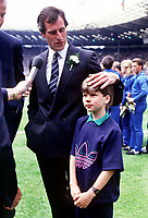 Ray Clemence (Tottenham Hotspur) with his son Stephen (later to play for Tottenham in the 1990's.Tottenham Hotspur v Coventry City.FA Cup Final 1987. Credit: Colorsport/Andrew Cowie.