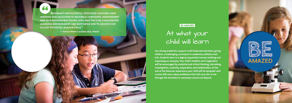 Viewbook for Rossman School, Design by 501creative, St. Louis (www.501creative.com)