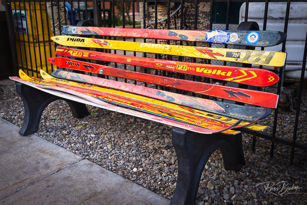 Bench made of skis, Telluride, Colorado USA