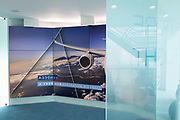 Airbus video presentation screen and corporate messages in the companys hospitality chalet at the Farnborough Airshow, on 18th July 2018, in Farnborough, England.