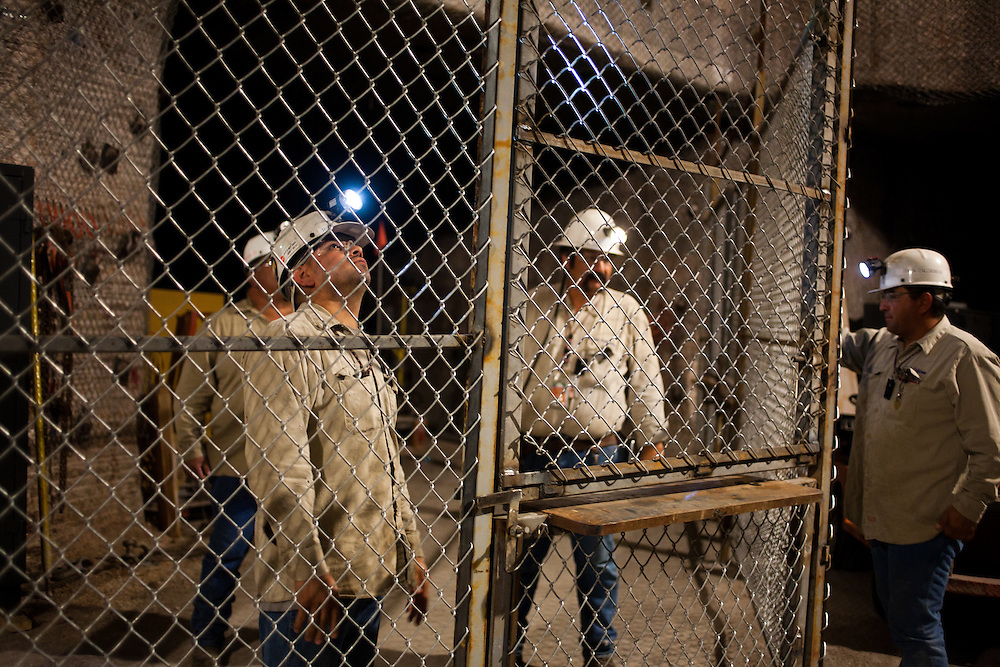 Workers install a new secure equipment gate 2150 ft underground inside The Waste Isolation Pilot Plant in Eddy County. WIPP received $172 million as part of the Recovery and Reinvestment Act accelerate nuclear waste cleanup.