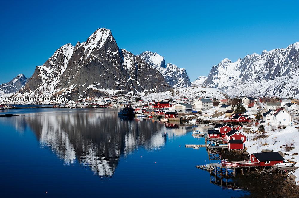View of village of Reine in Moskenes  in Lofoten Islands in Norway in winter 2010