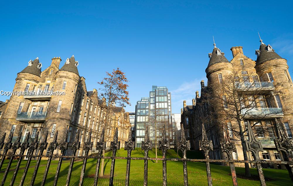 Exterior of modern luxury residential housing development at Quartermile  ( Simpsons Loan) in Edinburgh, Scotland, UK