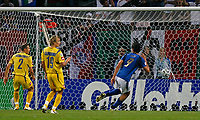 Photo: Glyn Thomas.<br />Italy v Ukraine. Quarter Finals, FIFA World Cup 2006. 30/06/2006.<br /> Italy's Luca Toni (R) scores his side's third goal.