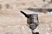 Israel, Arava, Outdoor cooking boiling water for tea