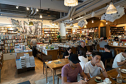 Interior of Kubricks cafe at Broadway Cinematique arthouse cinema in Yaumatei district of Kowloon in Hong Kong.