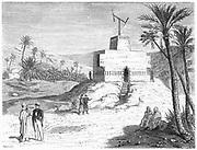 Claude Chappe's (1763-1805) aerial telegraph (semaphore) system in use in Algeria. From Louis Figuier 'Les Merveilles de la Science', Paris, c1870. Engraving.