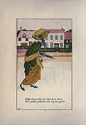 Daffy-down-dilly has come up to town, In a yellow petticoat and a green gown from the book Mother Goose : or, The old nursery rhymes by Kate Greenaway, Engraved and Printed by Edmund Evans published in 1881 by George Routledge and Sons London nad New York