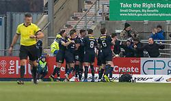 Falkirk's Ciaran McKenna cele scoring their goal. Falkirk 1 v 1 Dundee United, Scottish Championship game played 23/2/2019 at The Falkirk Stadium.