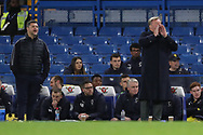 AFC Wimbledon manager Wally Downes and AFC Wimbledon coach Simon Bassey shouting from the touchline during the EFL Trophy match between U21 Chelsea and AFC Wimbledon at Stamford Bridge, London, England on 4 December 2018.