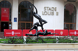 A general view of the Les sportifs sculpture designed by Dutch Artist Kees Verkade outside the Stade Louis II Stadium prior to the match between AS Monaco and Club Brugge