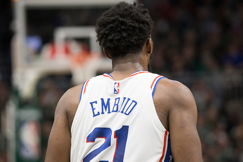 Joel Embiid during the Philadelphia 76ers' away game against the Milwaukee Bucks on March 17, 2019.