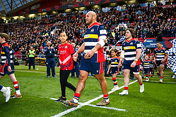 Soane Tonga'uiha of Bristol Rugby walks out with the mascots - Rogan/JMP - 13/04/2018 - RUGBY UNION - Ashton Gate Stadium - Bristol, England - Bristol Rugby v Doncaster Knights - Greene King IPA Championship.
