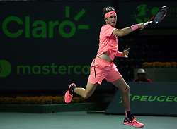 March 21, 2018 - Miami, Florida, United States - Jared Donaldson, from the USA and one of the promises of the US Tennis, during his first round match agains Marcos Baghdatis, from Chipre. Donaldson adcances to the second round with a 6-3 6-4 victoy, in Miami, on March 21, 2018. (Credit Image: © Manuel Mazzanti/NurPhoto via ZUMA Press)