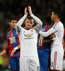 Wayne Rooney of Manchester United applauds the fans at the final whistle  - Mandatory byline: Jack Phillips/JMP - 07966386802 - 31/10/2015 - SPORT - FOOTBALL - London - Selhurst Park Stadium - Crystal Palace v Manchester United - Barclays Premier League