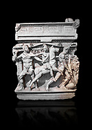 """End panel of a Roman relief sculpted Hercules sarcophagus with kline couch lid, """"Columned Sarcophagi of Asia Minor"""" style typical of Sidamara, 250-260 AD, Konya Archaeological Museum, Turkey. Against a black background .<br /> <br /> If you prefer to buy from our ALAMY STOCK LIBRARY page at https://www.alamy.com/portfolio/paul-williams-funkystock/greco-roman-sculptures.html . Type -    Konya     - into LOWER SEARCH WITHIN GALLERY box - Refine search by adding a subject, place, background colour, museum etc.<br /> <br /> Visit our ROMAN WORLD PHOTO COLLECTIONS for more photos to download or buy as wall art prints https://funkystock.photoshelter.com/gallery-collection/The-Romans-Art-Artefacts-Antiquities-Historic-Sites-Pictures-Images/C0000r2uLJJo9_s0"""