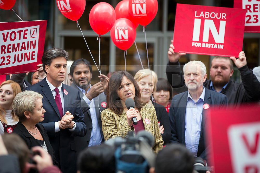 © Licensed to London News Pictures. 27/05/2016. Doncaster UK. Caroline Flint speaking in Doncaster with Labour leader Jeremy Corbyn & former Labour leader Ed Miliband who have been at a EU referendum campaign rally today in Docaster. Photo credit: Andrew McCaren/LNP