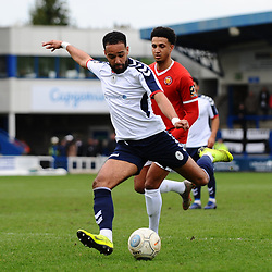 TELFORD COPYRIGHT MIKE SHERIDAN 9/3/2019 - Brendon Daniels of AFC Telford gets a shot away during the National League North fixture between AFC Telford United and FC United of Manchester (FCUM) at the New Bucks Head Stadium