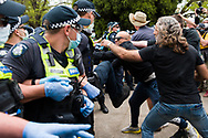 Chaos erupts during the Melbourne Freedom Rally at The Shrine. Premier Daniel Andrews promises 'significant' easing of Stage 4 restrictions this weekend. This comes as only one new case of Coronavirus was unearthed over the past 24 hour and no deaths. (Photo by Dave Hewison/Speed Media)
