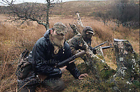 British SAS soldiers (Special Air Service) seen on training exercise in the Brecon Beacons,Wales in 1970. The trooper on the left is holding an L1A1 modified SLR, while the trooper on the right is equipped with an M16 assault rifle. Photographed by Terry Fincher