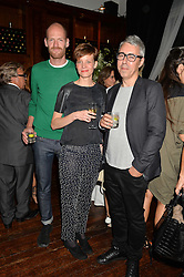 Left to right, CHRIS KABEL, WIEKI SOMERS and DAVID DUBOIS at a party to celebrate opening of Galerie Kreo in London held at Il Bottaccio, Grosvenor Place, London on 17th September 2014.