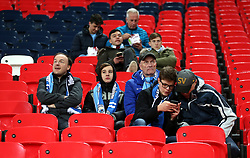 Manchester City fans in the stands prior to the match