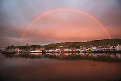 The Silvers Marine Scottish Series 2014, organised by the  Clyde Cruising Club,  celebrates it's 40th anniversary.<br /> <br /> Tarbert Harbour under the rainbow<br /> <br /> Credit : Marc Turner / PFM