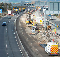 ©Licensed to London News Pictures 05/02/2020<br /> Maidstone, UK. Smart motorway construction work on the M20 near junction 5. The UK government has stopped all Smart motorway development schemes while it awaits the results of a review into their safety. This means a £92 million stretch of the M20 in Kent will not open as a smart motorway until the review has been completed. The new 6.5 mile section between junctions three and five near Maidstone was due to open next month but now may never open as a smart motorway. Photo credit: Grant Falvey/LNP