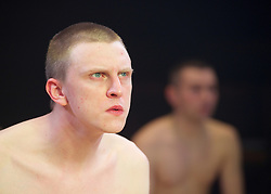 Yen<br /> by Anna Jordan <br /> at The Royal Court Theatre, London, Great Britain <br /> 22nd January 2016 <br /> Press Photocall <br /> <br /> Alex Austin as Hench <br /> Jake Davies as Bobbie<br /> Photograph by Elliott Franks <br /> Image licensed to Elliott Franks Photography Services