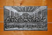 Embosed metal plate of The Last Supper after Leonardo da Vinci