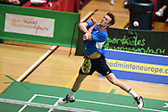 Kieran MERRILEESof Scotland in action during his match against Tzu Wei WANG. Wales international badminton championships 2014 at the Welsh institute of Sport, Sophia Gardens in Cardiff, South Wales on Friday 28th November 2014<br /> pic by Andrew Orchard, Andrew Orchard sports photography.