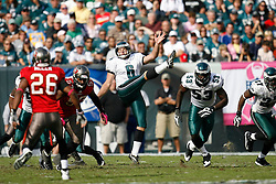 Philadelphia Eagles punter Sav Rocca #6 punts during the NFL game between the Tampa Bay Buccaneers and the Philadelphia Eagles on October 11th 2009. The Eagles won 33-14 at Lincoln Financial Field in Philadelphia, Pennsylvania. (Photo By Brian Garfinkel)