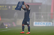 Swansea City midfielder Wayne Routledge(15) scores a goal 0-1 and celebrates during the FA Cup match between Stevenage and Swansea City at the Lamex Stadium, Stevenage, England on 9 January 2021.