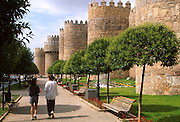 SPAIN, CASTILE and LEON Avila;a small park alongside the famous  city walls near the Plaza of St. Theresa