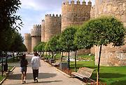 SPAIN, CASTILE and LEON Avila;a small park alongside the famous  city walls near the Plaza of St. Theresa