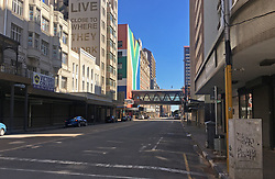JOHANNESBURG, April 18, 2020  Photo shows an empty street in Johannesburg, South Africa, April 17, 2020. South Africa registered 178 new confirmed COVID-19 cases on Friday, the sharpest rise for a single day since the country recorded its first confirmed case on March 5, according to the Health Ministry. .   As of 4:00 a.m. Saturday local time, the country reported 2,783 confirmed cases and 50 deaths, according to a Johns Hopkins University tally. (Photo by Zodidi MhlanaXinhua) (Credit Image: © Xinhua via ZUMA Wire)