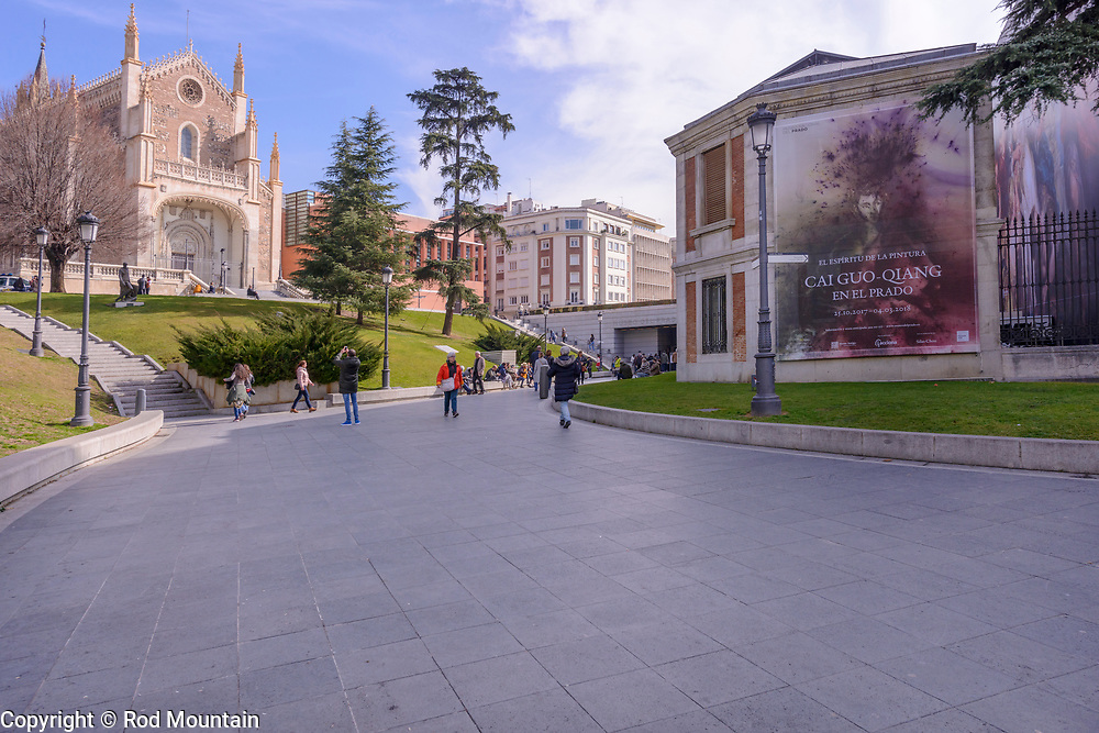 Madrid, Spain - February 16, 2018 - San Jerónimo el Real as seen from nearby Museo Del Prado. The San Jerónimo el Real Church was first completed in 1505. <br /> <br /> Image: © Rod Mountain<br /> <br /> http://www.rodmountain.com <br /> <br /> http://bit.ly/Madrid_bw<br /> <br /> #Church #architecture #creative_architecture #besteuropepics #europevacation #visitmadrid #wonderlust.spain #bnw_life #bnwmood #bnw_madrid #blancoynegro #bnw_universe #insta_bw #love_bnw #jj_blackwhite #bwsquare #FineArt #capturestreets #streetphotographersmagazine #rentalmag #intercollective  #worldcaptures #touristattraction #exploretocreate #CreativeExploreTakeOver #worldtravelpics #TravelPhotoGallery #Wonderful_Places #letsgosomewhere #latergram<br /> <br /> Instagram<br /> @spain @visita_madrid @museoprado<br /> <br /> FaceBook<br /> @spain.info @visitamadridoficial @museonacionaldelprado<br /> <br /> Twitter<br /> @spain @Visita_Madrid @VisitMadrid_EN @Museodelprado<br /> <br /> https://www.museodelprado.es/en<br /> https://www.esmadrid.com/en<br /> https://en.wikipedia.org/wiki/Madrid<br /> https://www.spain.info/en/