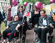 Westminster 11th May 2011. Hardest hit demonstration against government cuts to services to people with disabilities.