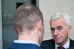 John McDonnel, Shadow Chancellor and Member of Parliament for Hayes and Harlington leaves the BBC after appearing on the Andrew Marr show.<br /> <br /> Richard Hancox | EEm 07072019