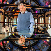 Alasdair Gray at Oran Mor in Glasgow. Alasdair Gray underneath the famous murals Gray painted for the venue before it opened. <br /> <br /> 14th May 2013<br /> Photograph Robert Perry <br /> <br /> <br /> Must credit photo to Robert Perry<br /> FEE PAYABLE FOR REPRO USE<br /> FEE PAYABLE FOR ALL INTERNET USE<br /> www.robertperry.co.uk<br /> NB -This image is not to be distributed without the prior consent of the copyright holder.<br /> in using this image you agree to abide by terms and conditions as stated in this caption.<br /> All monies payable to Robert Perry<br /> <br /> (PLEASE DO NOT REMOVE THIS CAPTION)<br /> This image is intended for Editorial use (e.g. news). Any commercial or promotional use requires additional clearance. <br /> Copyright 2014 All rights protected.<br /> first use only<br /> contact details<br /> Robert Perry     <br /> 07702 631 477<br /> robertperryphotos@gmail.com<br /> no internet usage without prior consent.         <br /> Robert Perry reserves the right to pursue unauthorised use of this image . If you violate my intellectual property you may be liable for  damages, loss of income, and profits you derive from the use of this image.
