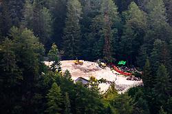 View on construction site fo The Frischauf Lodge at Okreselj from the Kamnik Saddle, on August 16, 2020 in Kamnik-Savinja Alps, Slovenia. Photo by Matic Klansek Velej / Sportida