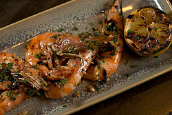 Detail of gambas a la parilla (grilled shrimp) at La Marchas Tapas Bar, photographed Wednesday, Jan. 13, 2016, in Berkeley, Calif. (Photo by D. Ross Cameron)