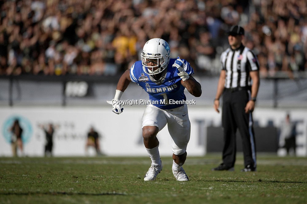 Memphis running back Tony Pollard (1) runs a route during the second half of the American Athletic Conference championship NCAA college football game against Central Florida Saturday, Dec. 2, 2017, in Orlando, Fla. Central Florida won 62-55. (Photo by Phelan M. Ebenhack)