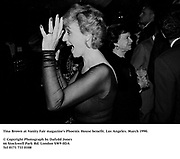 Tina Brown at Vanity Fair magazine's Phoenix House benefit. Los Angeles. March 1990.<br /><br />© Copyright Photograph by Dafydd Jones<br />66 Stockwell Park Rd. London SW9 0DA<br />Tel 0171 733 0108<br />Film.90199/16