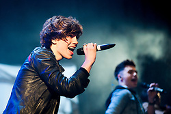 6 November 2013, Meadowhall Sheffield South Yorkshire Fans Watch the Christmas Light Switch On Charity Concert. Union J<br /> George Shelley<br /> <br /> 6th November 2013<br /> Image © Paul David Drabble<br /> www.pauldaviddrabble.co.uk